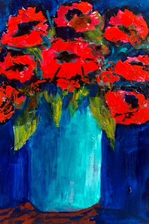 Poppies in aqua vase