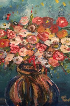 Study - Flowers ina brone vase