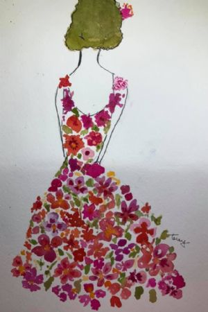 Lady in flowered dress